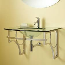 wall mount glass sink with towel bar bathroom
