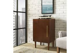 Crosley Sideboard Everett Record Player Stand In Mahogany By Crosley Ship