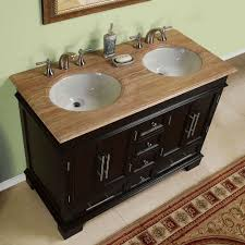 48 inch compact double sink travertine stone top bathroom vanity