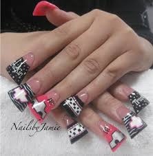 nails by jamie at nailville fresno ca very wide pink u0026 black