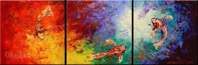 koi color oil painting on canvas fresh look color 3 panel wall art