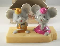 novelty salt and pepper shakers vintage plastic mice cheese novelty salt pepper shakers by jsny