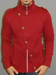 mens stylish flap mock turtle neck zip up sweater red