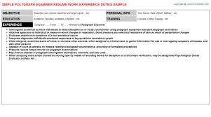 Employee Engagement Resume Polygraph Examiner Resume Sample