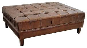 Leather And Wood Coffee Table Oversized Leather Ottoman Coffee Table Leather Storage