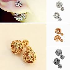 unique stud earrings unique design charm ear stud fad sides two hollowed