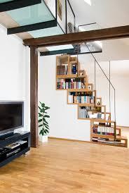 Staggered Bookshelves by Bookshelves Staircase Blue Ant Studio