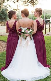 macloth cowl back long bridesmaid dress elegant burgundy wedding party
