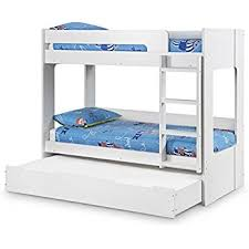 Happy Beds Ellie White Wooden Bunk Bed And Trundle Guestbed Frame - Wooden bunk bed with trundle