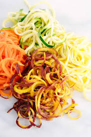 spiralized vegetable noodle salad with avocado sauce jessica gavin