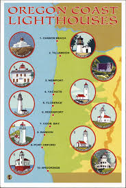 map of oregon lighthouses postcard oregon coast lighthouses map lantern press post flickr
