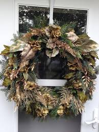 Holiday Wreath Gold And Moss Green Hydrangea Holiday Wreath Wreaths By Julie