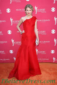 Red Carpet Gowns Sale by One Shoulder Taylor Swift Red Mermaid Evening Prom Gowns For