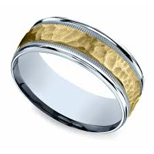 two tone mens wedding bands hammered men s wedding ring in white yellow gold