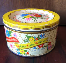 mackintosh u0027s tin golden toffee wafers tin yellow tin vintage