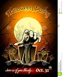 halloween party invitation with zombie graphic stock vector