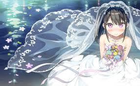 wedding dress anime wallpaper anime girl black hair flowers wedding dress