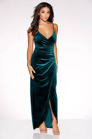 velvet dress green velvet wrap split maxi dress quiz clothing