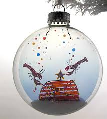 glass little lobsters christmas ornament features happy holidays