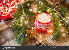 Christmas Decorations At Home Cup Of Cocoa With Marshmallow With Christmas Decorations At