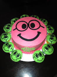 nerdy smiley face birthday cake and cupcakes cakecentral com