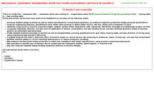 Resume Headline For Mechanical Engineer Mechanical Equipment Engineering Assistant Work Experience Certificate