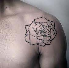 minimalist geometric rose guys shoulder tattoo designs tatouage