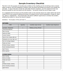 sample inventory checklist 10 documents in word excel pdf
