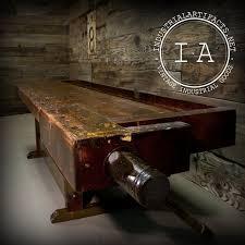 vintage industrial repurposed woodworker work bench coffee table