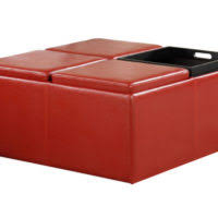 furniture oversized square black leather storage ottoman coffee