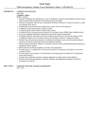 Example Of A Federal Resume Compliance Officer Resume Sample Velvet Jobs
