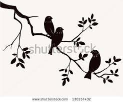 vector silhouette birds sitting on stock vector 130157432