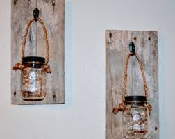 Jar Candle Wall Sconce Barn Wood Sconce Etsy