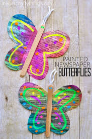 Butterfly Crafts For Kids To Make - painted newspaper butterfly craft butterfly crafts newspaper