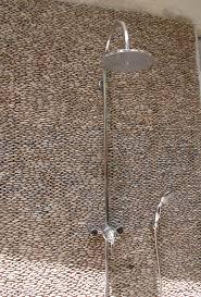 White Pebble Tiles Bathroom - standing pebble tile java shower 2 standing pebble bathroom