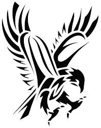 Mexican Flag Tattoos Image Black Tribal Flying Hawk Tattoo Stencil Png Star Wars