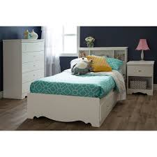 White Self Assembled Bedroom Furniture South Shore Crystal Mates Twin Bed With Storage White Walmart Com