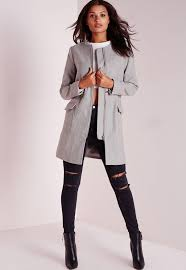 light grey wool coat collarless zip detail faux wool jacket light grey missguided