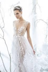 ethereal wedding dress mira zwillinger white flower tulle transparent ethereal v
