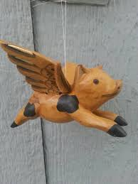 flying pig ornament home decor wood ornament vintage holiday