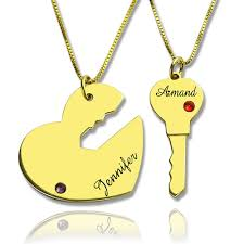 heart gold pendant necklace images Valentines day gifts key to my heart necklaces set jpg