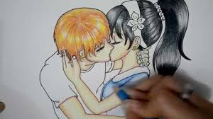 how to draw a anime couple love kissing so cute and romantic youtube
