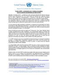 bureau de coordination des affaires humanitaires ocha mali on bonne nouvelle le uncerf octroie 7m usd au