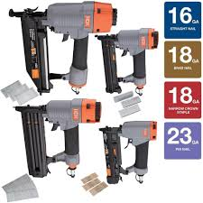Central Pneumatic Staples by Hdx Pneumatic Finish Crown Kit 16 23 18 Gauge Brad Nailer 4 Piece