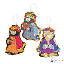 color your own foil three wise ornaments