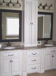 bathroom double vanity with makeup station bathroom dark hutch