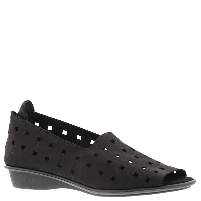 Sesto Meucci Evonne Leather Open Toe Slide Flats, Black Nubuck,