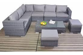 Grey Rattan Large Corner Garden Sofa Set Family Sized Furniture - Vantage furniture