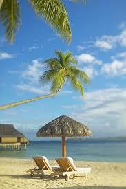 Beach Lounge Chair Umbrella French Polynesia Tahiti Bora Bora Lounge Chairs And Thatch