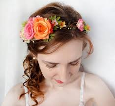 floral headband pink flower crown orange flower crown floral headband garden